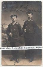 Foto Ak zwei Matrosen 1914 Stempel Marine Feldpost SMS Mecklenburg Kiel !