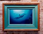 Robert Wyland - Pacific Home 1990- Dolphin & her Baby - Original Oil painting