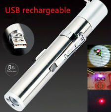 Laser Pointer 3 in 1 USB Rechargeable Red Laser+UV+Flashlight Cat Pet Toy