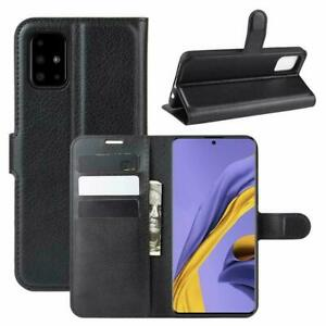 100% Genuine PU Leather Black Book Wallet Flip Case Cover For Samsung Galaxy A71