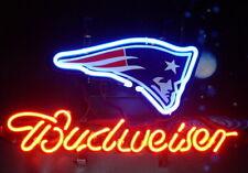 "Budweiser New England Patriots Neon Sign Light 14""x10"" Man Cave Bar Beer Decor"