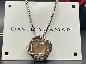"""David Yurman Sterling Silver 925 14mm Infinity with Morganite 17"""" Necklace"""
