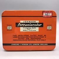 Vintage Johnson Ferraniacolor Film Developing Tin Design Advertising Packaging
