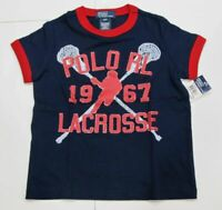 New tag Boys RALPH LAUREN Navy Blue Short Sleeve POLO Lacrosse Summer T-Shirt M