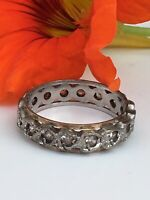 Antique Art Deco Size N eternity ring 9ct gold & silver Sapphire Diamond Paste