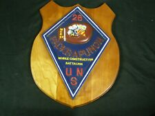 Vintage Vietnam Era Us Navy Seabees Lg Plaque Us Naval Mobile Construction 26