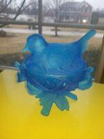 "Vintage Westmoreland Blue Satin Glass Covered ""Bird on Nest"" CandyDish GORGEOUS!"