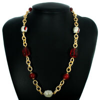 Murano Glass Necklace Red Gold Black Beads Millefiori Venice 53cm