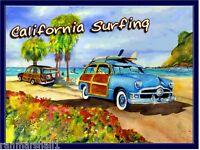 California Surfing Woodie Ocean Beach United States Travel Advertisement Poster