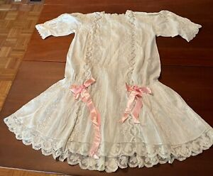 Antique Child's Dress Victorian Late 1800's Embroidered Silk?