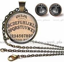 "Ouija Board & Eyes Handcrafted Earrings & Necklace Set Glass Bronze 24"" Chain"