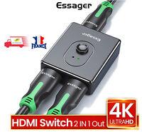 HDMI Hub Commutateur, Switch HDMI Répartiteur Bidirectionnel 2 Entrées 1 Sortie