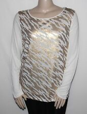 NEW Jones New York Plus Size 1X Long Sleeve Sequined Top Sugar/Frosted Gold