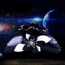 USA QUALITY ACRYLIC Hair Claw Clip use Swarovski Crystal Hairpin Black Flower 05