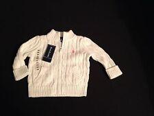 POLO Ralph Lauren cotone crema Cavo Zip Cardigan 9 M RRP £ 75 ora £ 32