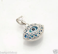 3D  Filigree Greek Mati Evil Eye Good Luck Charm Pendant 14K White Gold 2.00gr