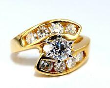 GIA Certified 1.40ct round cut diamond Crossover Engagement Ring 14 Karat