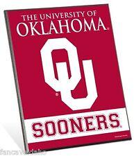 "University of Oklahoma Sooners Logo Premium 8"" x 10"" Solid Wood Easel Sign"