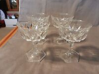 "Set of 4 Vintage Crystal Champagne Sorbet Glasses Stem 5"" Tall Hexagon Base (M)"