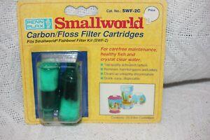 PENN-PLAX SMALLWORLD 2 Pack REPLACEMENT CARBON/FLOSS FILTER CARTRIDGES - SWF2 -
