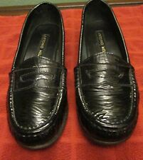Women's ANTONIO MELANI Bright Black Leather Slip On Loafers-Size 5 1/2M NR!
