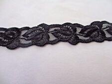 "7//8/"" Wide BLACK Embroidered Leaf Trim 1 yard"
