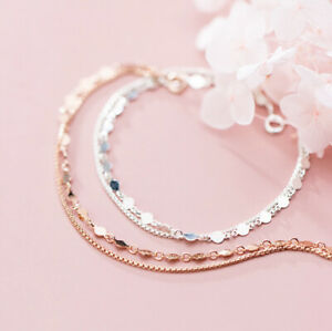 925 Silber Armband Doppelarmband rund Kreis Glänzend silber/rosevergoldet Damen
