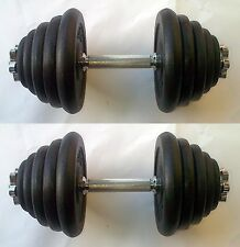 50KG Dumbbell Set, up to 2 x 25kg, Spinlock Bars, Iron Weights / Discs / Plates
