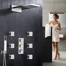 Grifo de ducha termostática cascada & Lluvia Masaje Cuerpo Jet Spray níquel cepillado
