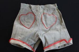 "VINTAGE 1970'S GRAY GREEN SUEDE LEDERHOSEN HEART SHORTS SIZE 28"" WAIST"
