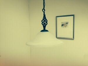 Wrought Iron Hand Forged British Glass Pendant Light (Large)