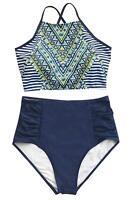 CUPSHE Women's Riddle Story Print Bikini Set Tie Back, Placement Print, Size 8.0