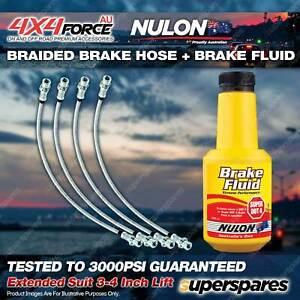 "4 F+R Braided Brake Hoses + Nulon Fluid for Mitsubishi Triton ML MN 3""-4"" Lift"