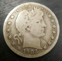1903 S Barber Quarter Very Good VG or Fine F Original Key Date CHEAP