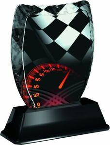 MOTOR RACING CAR TROPHY ICEBERG ACRYLIC *FREE ENGRAVING* 140mm *3 SIZES*