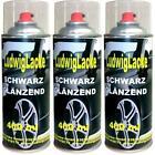 Schwarz glänzend 3 Spraydosen Autolack Schwarz GLANZ je 400ml Sprühlack