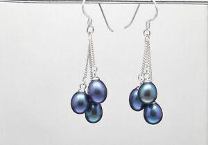 Natural Black Akoya Pearl Dangle Chain Earrings AAA Silver Hook