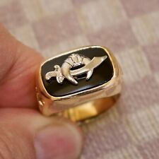 ESTATE MEN'S MASONIC SHRINERS 14K YELLOW GOLD 32nd DEGREE RING WITH ONYX size 9