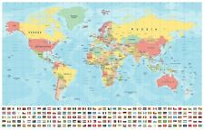 """LARGE World Map Poster WALL CHART With Country Flags Colour Litho34/""""x 24/"""" POSTER"""