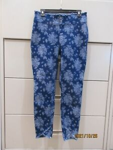 Hue Blue Jeans Floral Print Tulip Leg Leggings Size Large Nice