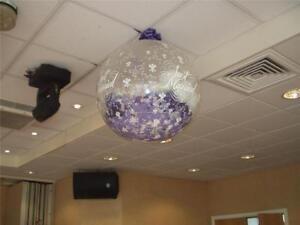 3ft Confetti Popping Balloon, Weddings Giant Balloon, Qualetex, 1, Clear