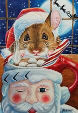 ACEO Limited Edition Print Christmas Santa Mug Mouse Hot Cocoa Moon by J. Weiner