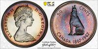 1967 CANADA 50 CENTS SILVER PCGS PL66CAM UNC MONSTER TONED MULTI COLOR (DR)
