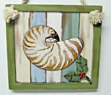 Wooden Sea Shell Wall Hanging - decorative item for beach house (124)