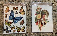 Vintage Meyercord Decals Butterflies 1518-E & Vegetables in Basket X 169-C Lot 2