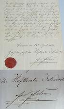 Hoftheater SCHWERIN: Zeugnis 1861 für Dekorationsmaler, Signatur Fr. von FLOTOW