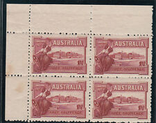 Stamps Australia Canberra 1927 commemorative stamp plate 12 block of 4 MUH toned