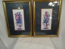 """Orchid & Iris painting print Helen Brown artist signed Gold Framed 13"""" x 19"""""""