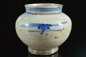 #5349: XF Korean Lý Dynasty Blue&White Muffle painting FLOWER VASE Ikebana
