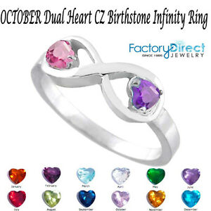 OCTOBER Dual Heart CZ Birthstone Infinity Silver Ring Mix Stones Mother's Day